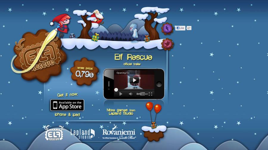 Elf Rescue tietokonepelin nettisivu