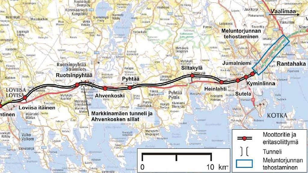 karttakuva E18-tietyömaasta