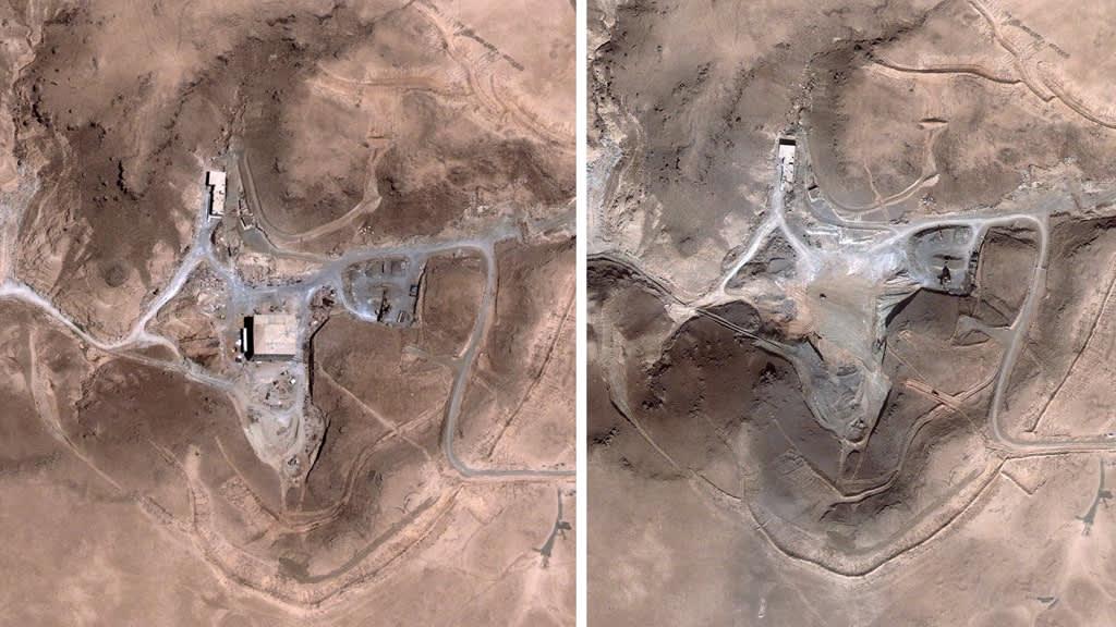 Kuvassa epäilty ydinlaitos ennen ja jälkeen Israelin iskun vuonna 2007.
