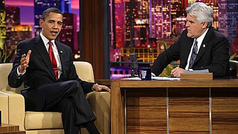 Presidentti Barack Obama Jay Leno Show'ssa.