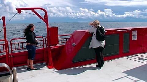 Naisia laivan kannella