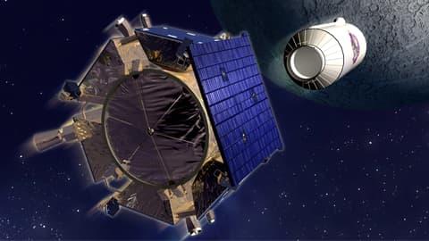 Taiteilijan näkemys Kuuhun törmänneestä Centaur-raketista. ja sen prässä lentäneestä paimenluotaimesta, joka lähetti tietoja törmäyspilvestä.