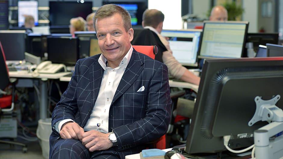 MTV Median tuleva toimitusjohtaja Heikki Rotko MTV3:n uutisstudiolla.