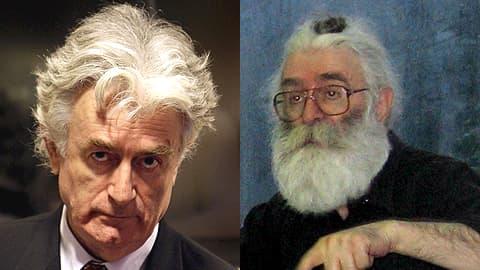 Kuvakollaasi parrattomasta ja parrakkaasta Karadzicista