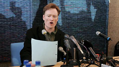 Conan O'Brien lehdistötilaisuudessa Helsingissä 2006