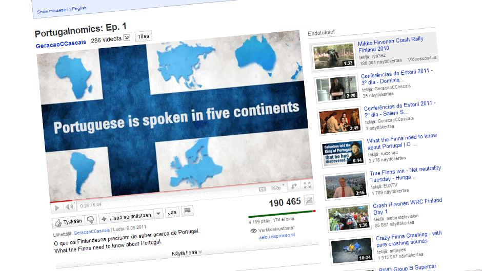 """""""Portugalia puhutaan viidellä mantereella"""" kertoo tietoiskuvideo."""