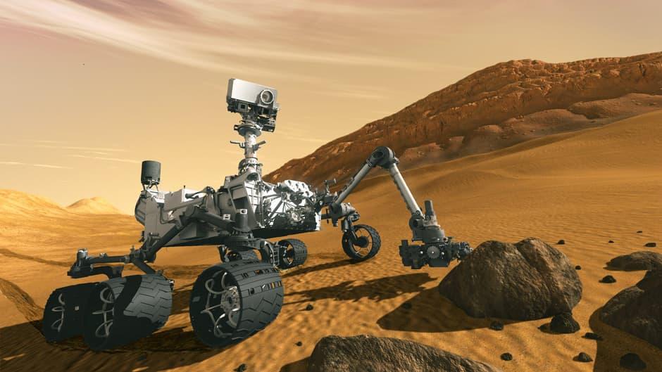 Tietokoneella tehty havainnekuva esittää NASAn Curiosity-mönkijää Mars-planeetalla.