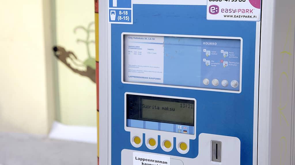 Pysäköintilippuautomaatti.