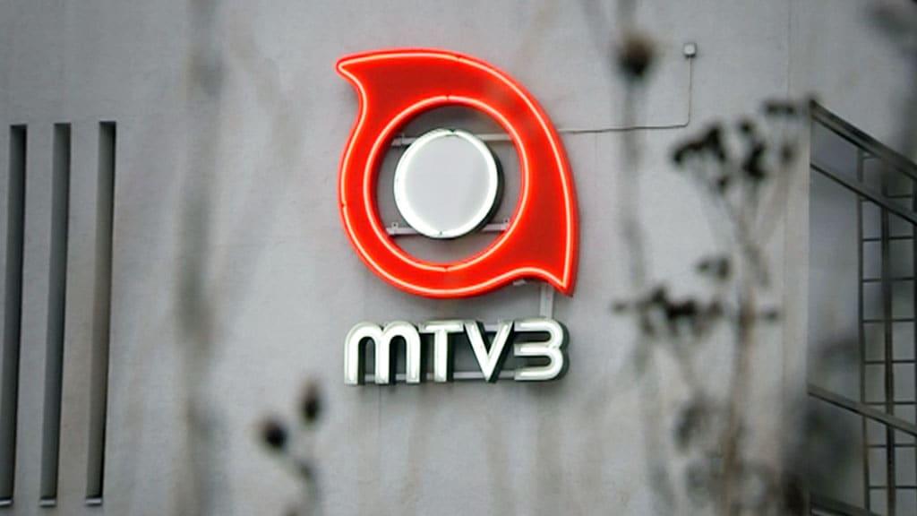 MTV3:n logo talon seinässä.