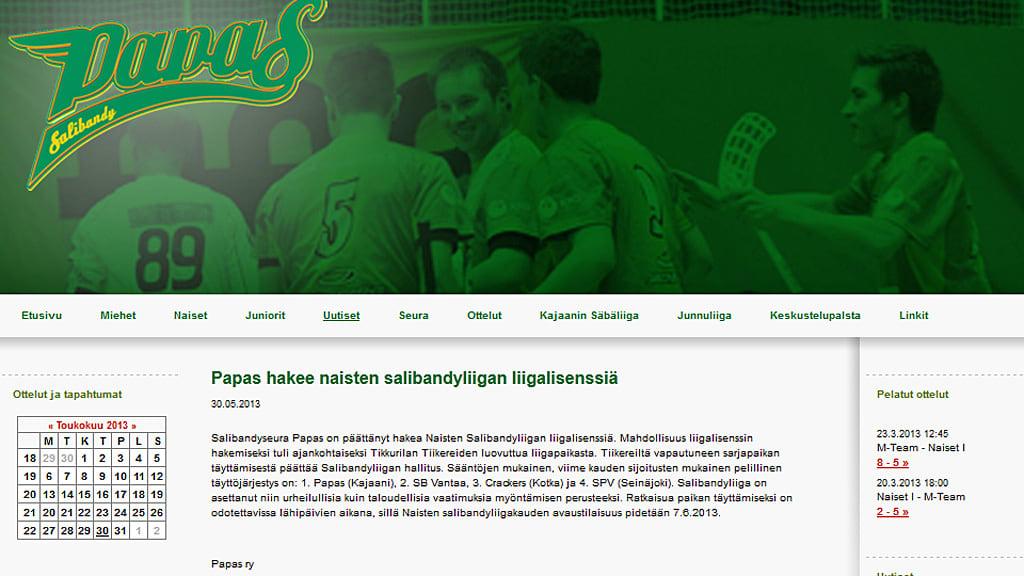 Kajaanilaisen salibandyseura Papaksen nettisivu.