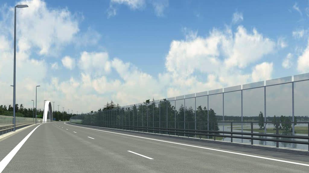 Havainnekuva Ahvenkosken valmiista sillasta.