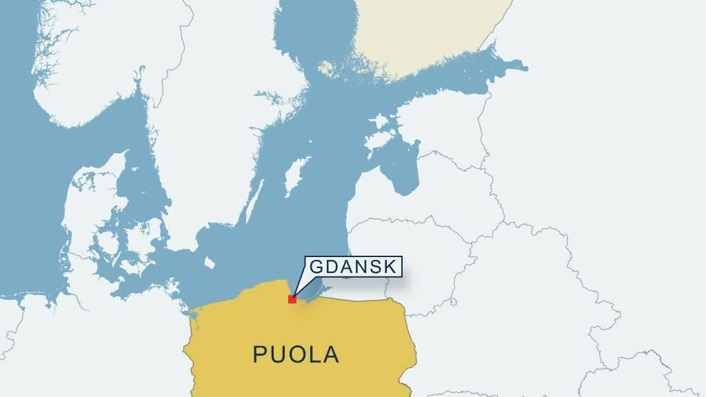 Kartta Gdanskin sijainnista.