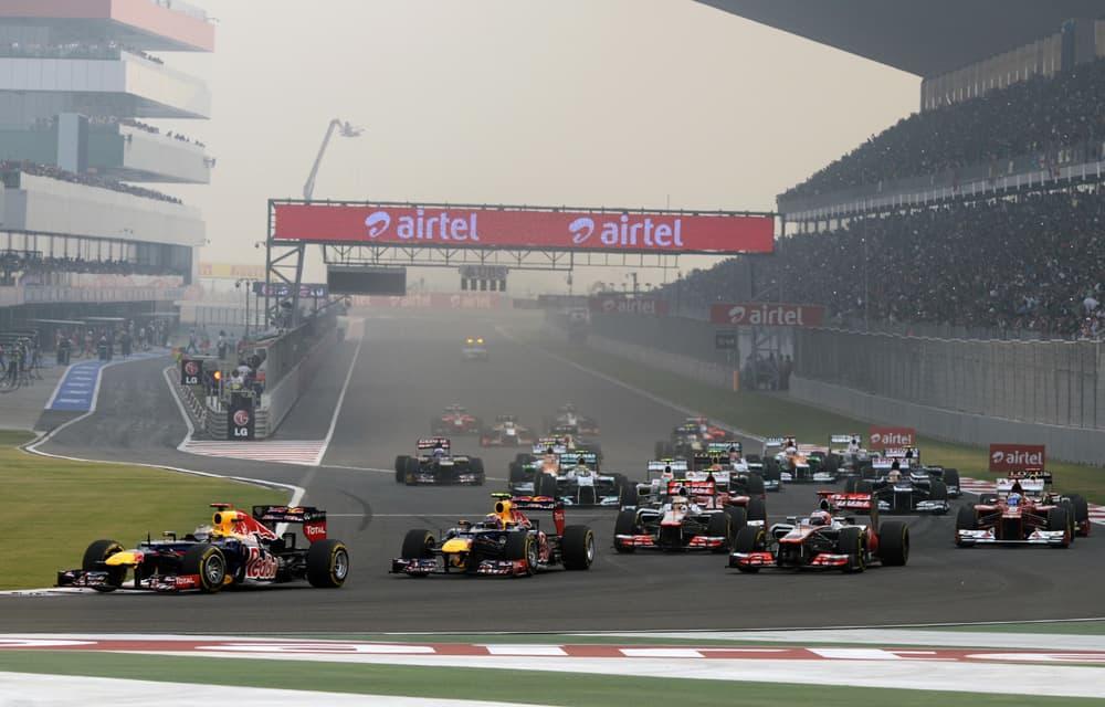 Lähtötilanne F1-sarjan Intian GP:ssä.