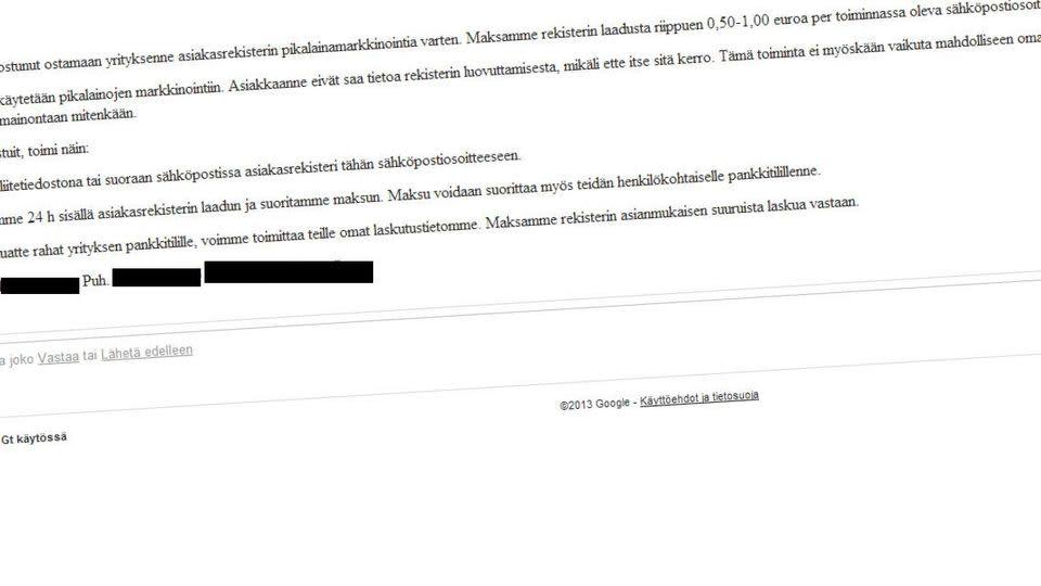 sähköpostiviesti asiakasrekisterin kalastus yrittäjät