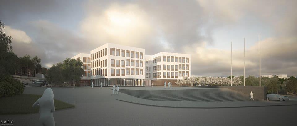 Havainnekuva Jyväskylän yliopiston Ruusupuiston uudesta rakennuksesta.