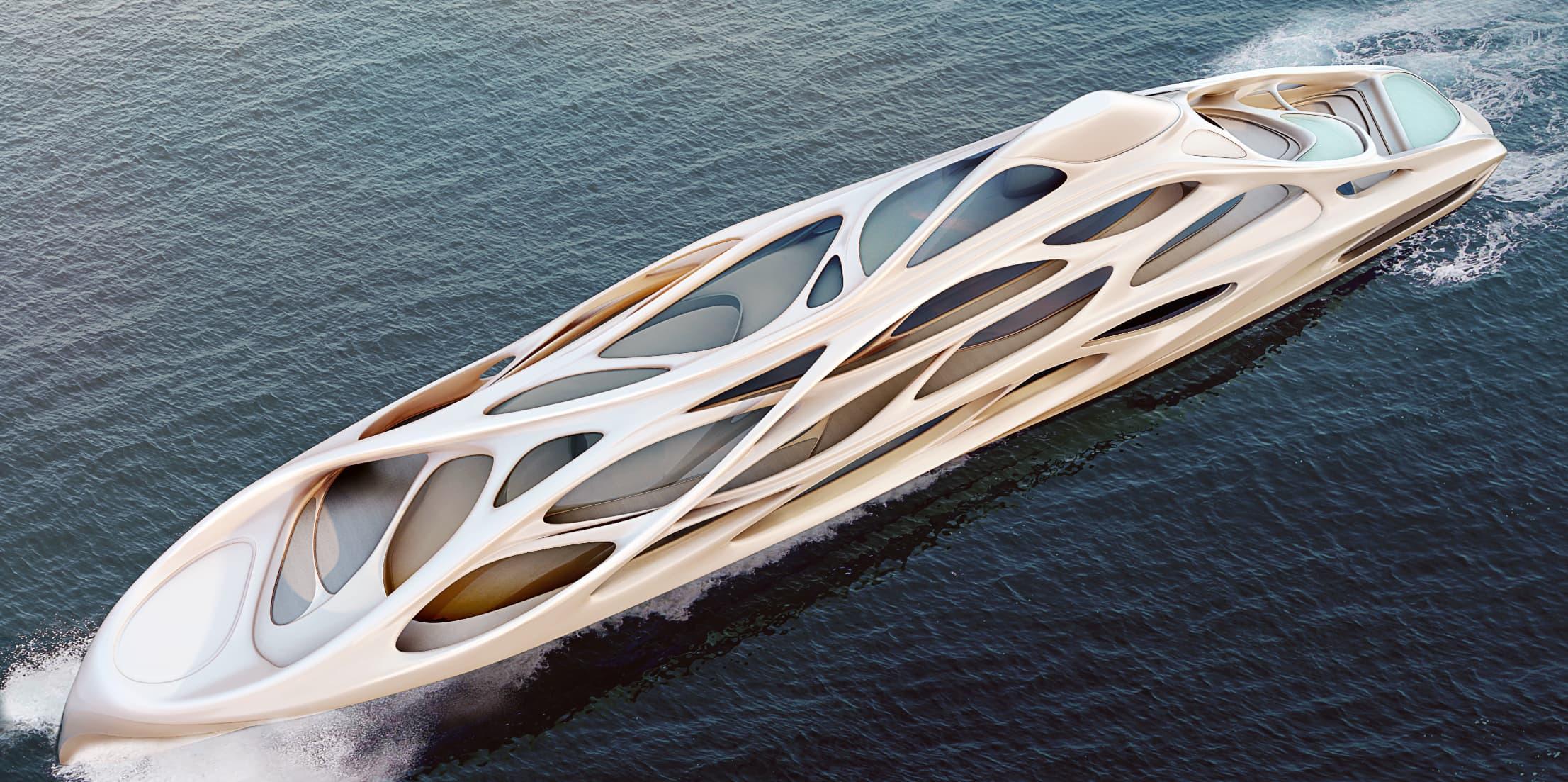 Havainnekuva arkkitehtitoimisto Zada Hadidin Blohm + Vossille suunnittelemasta jahdista.
