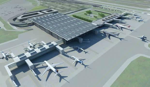 Havainnekuva Pulkovon lentoaseman uudesta matkustajaterminaalista.