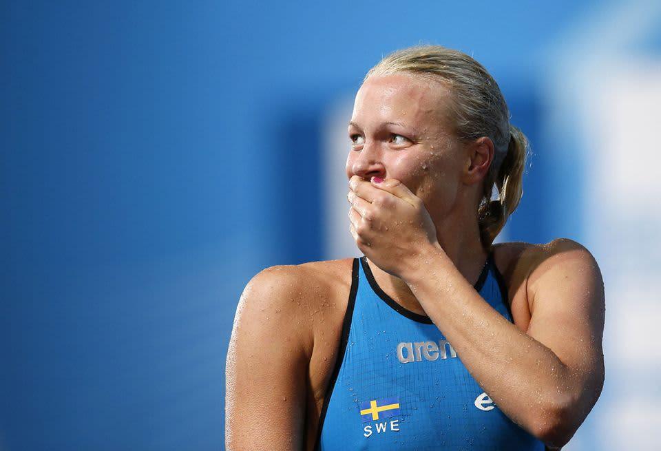 Ruotsalaisuimari Sarah Sjöström lähikuvassa.