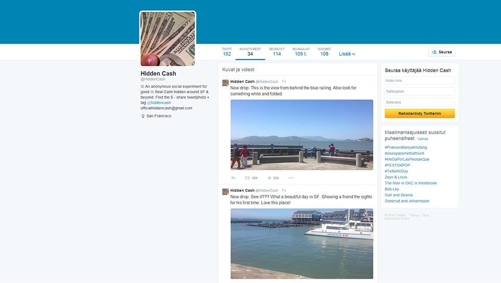 Nimimerkki @HiddenCash jakaa Twitter-tilillään vinkkejä rahakätköjensä sijainnista San Franciscossa. Kuva on kuvankaappaus käyttäjän Twitter-tililtä 28. toukokuuta.
