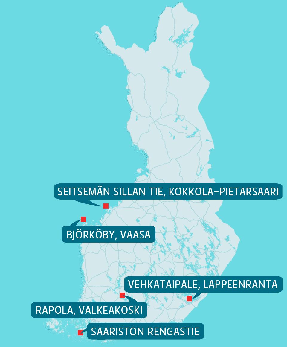 Suomen kartta, johon merkitty parhaat matkanäkymät.