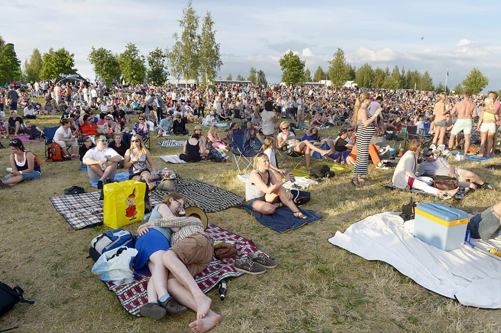 Yleisöä Pori Jazz -festivaalilla 18. heinäkuuta.