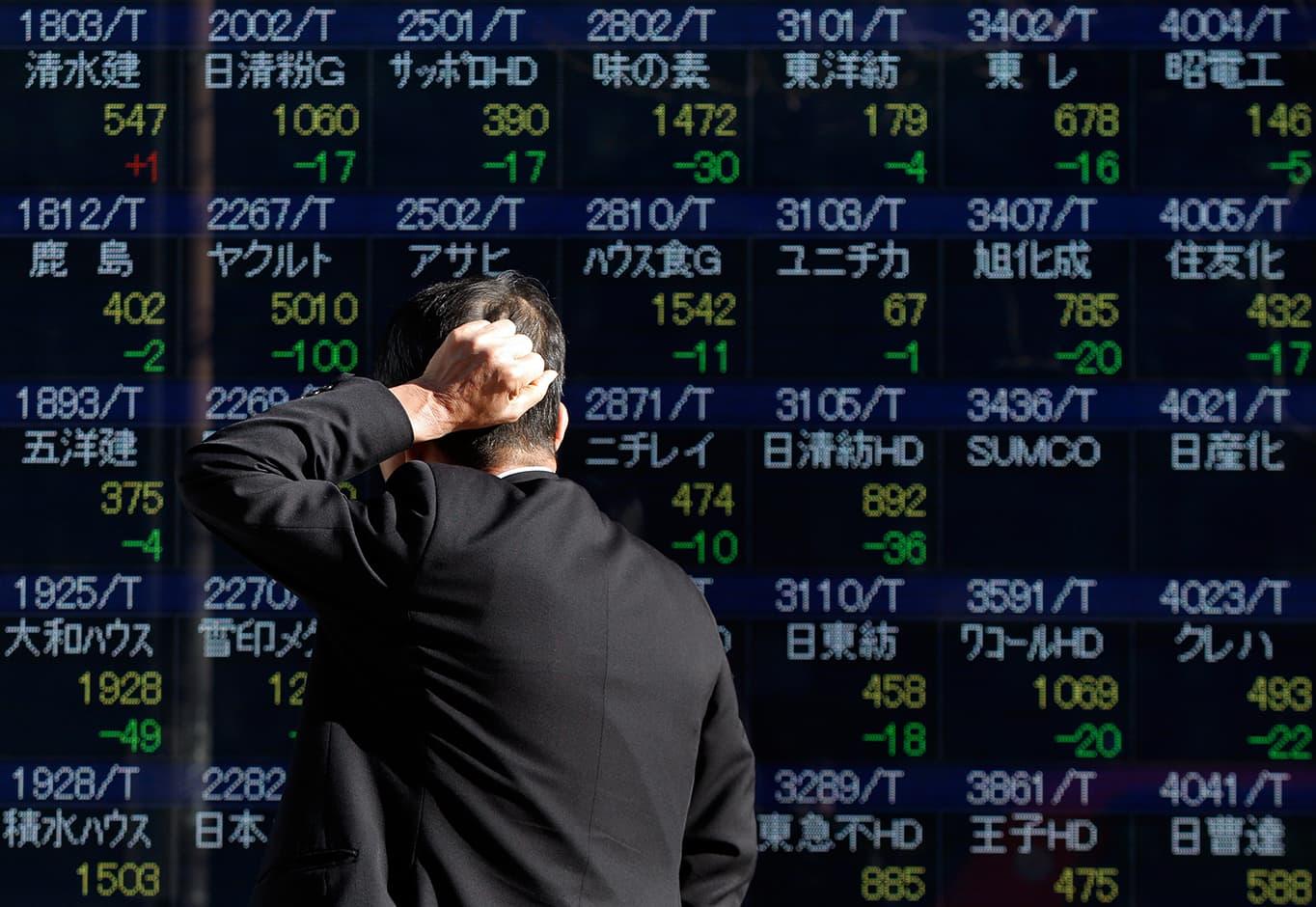 Tokion pörssikurssit laskussa tammikuussa 2014.