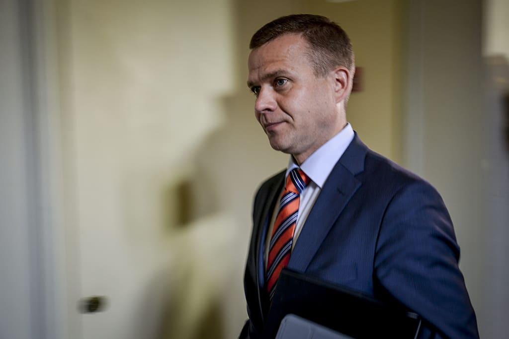 Kokoomuksen eduskuntaryhmän puheenjohtaja Petteri Orpo kokouksessa eduskunnassa 17. kesäkuuta 2014.