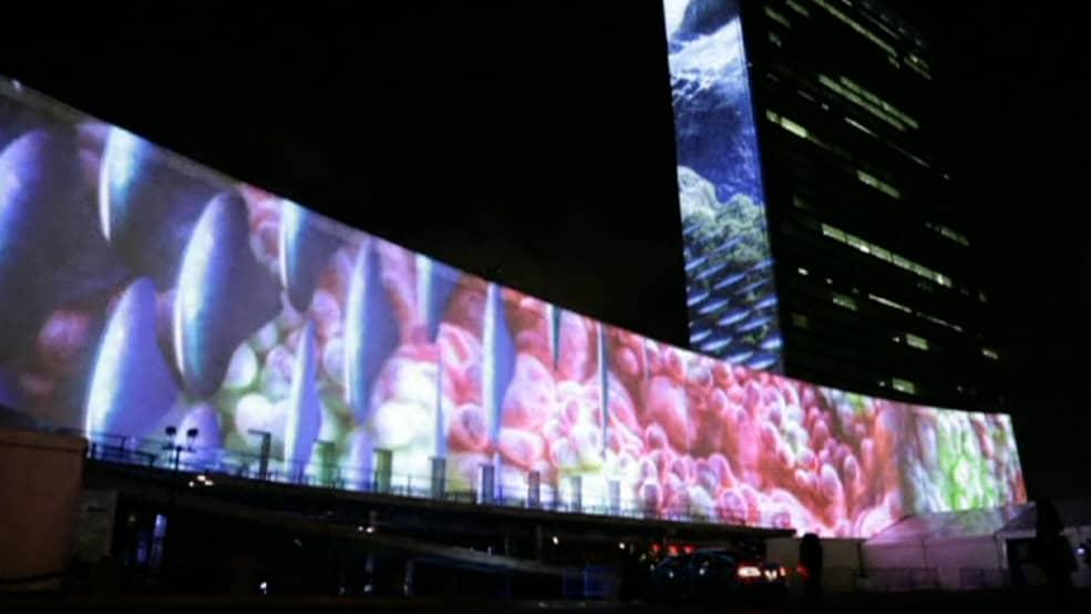YK:n ilmastokokouksen projisointi.