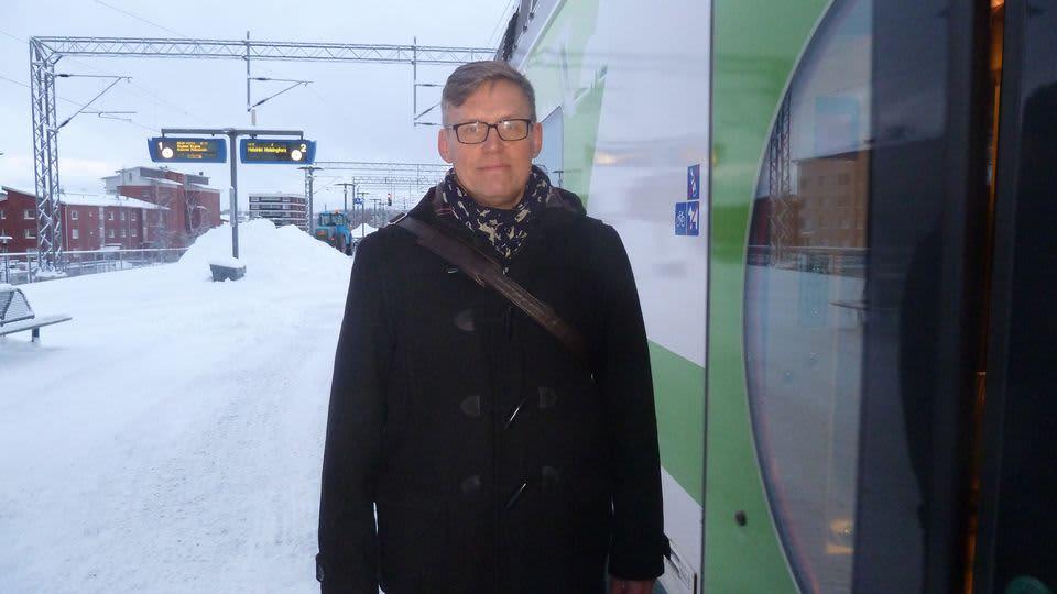 Kalle Veirto Lahden juna-asemalla.