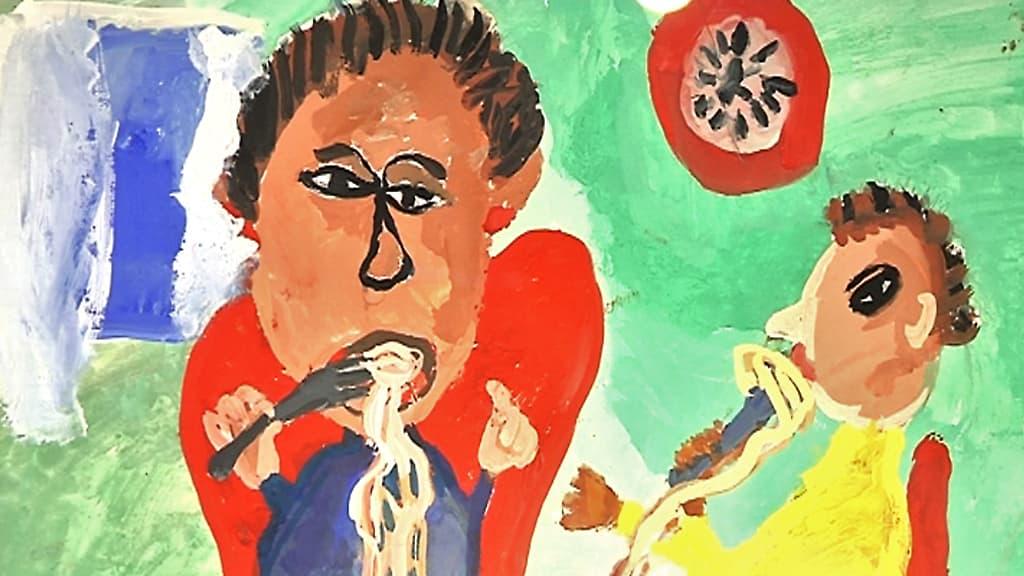 Yksityiskohta venäläisen Makarius Ivanovin piirroksesta, jossa syödään spagettia.