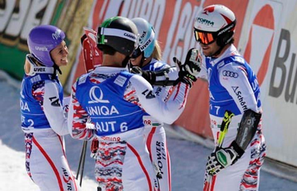 Itävalta juhli Schladmingissa joukkuekilpailun MM-kultaa.