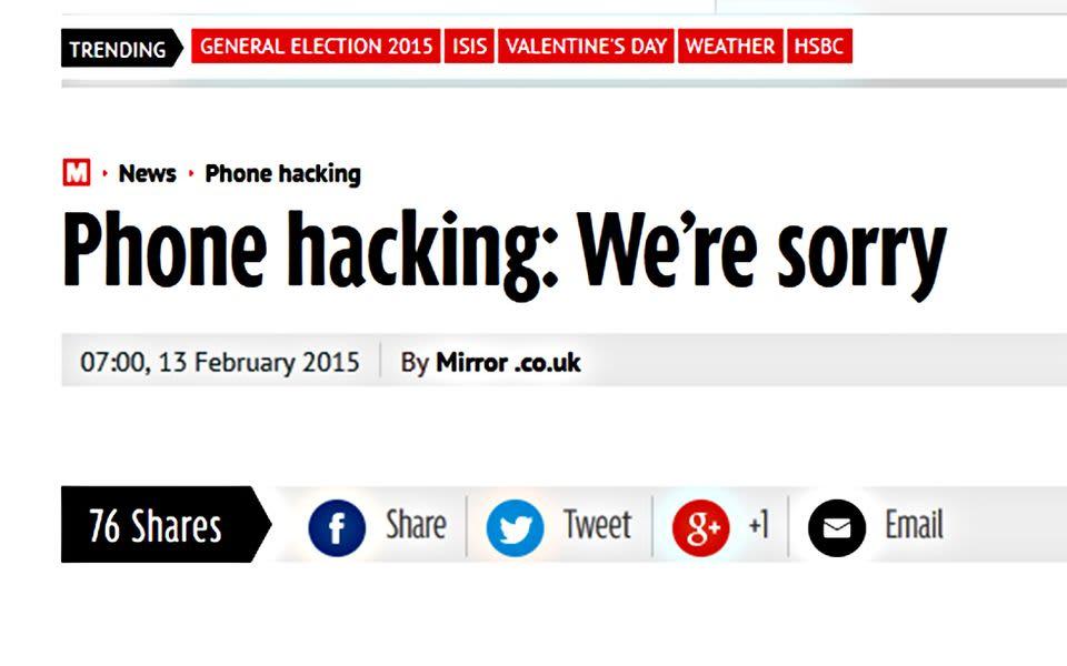 Otsikko Mirror Online -sivustolla 13. helmikuuta.