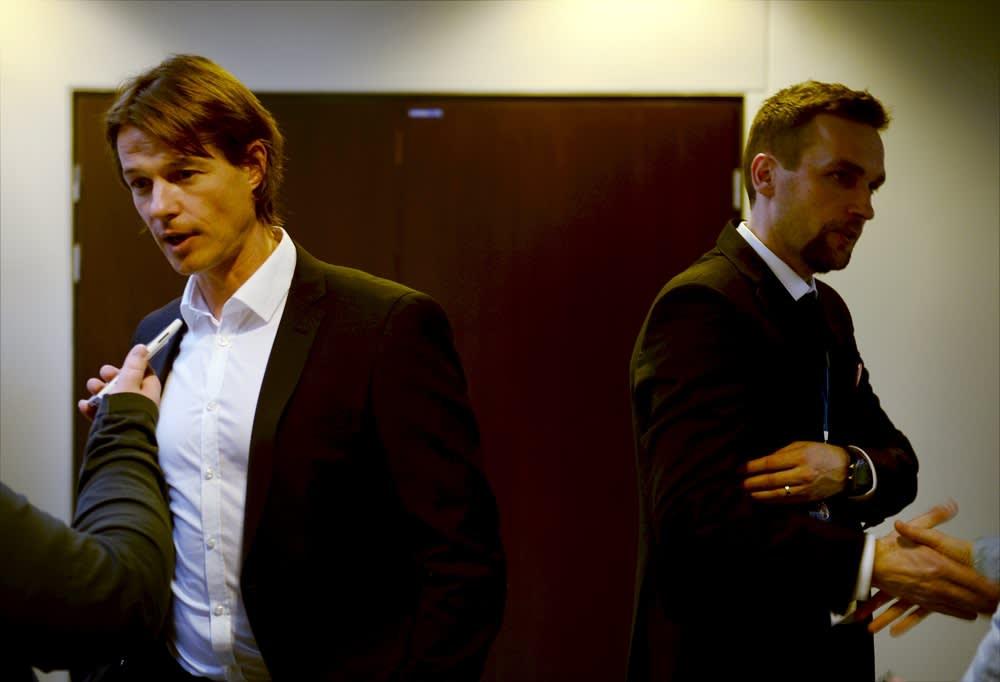 HJK:n päävalmentaja Mika Lehkosuo ja HIFK:n päävalmentaja Jani Honkavaara.