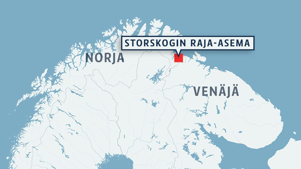 Kartta Suomen, Norjan, Ruotsin ja Venäjän pohjoisosasta.