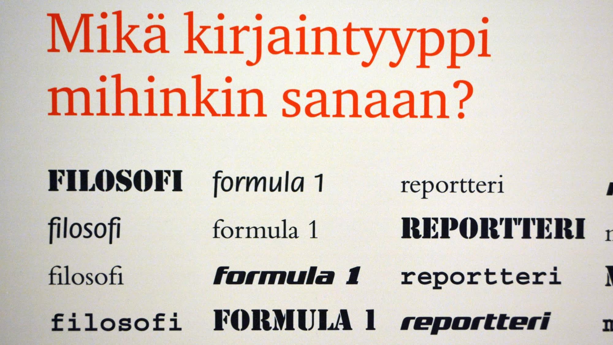 Eri kirjaintyyppejä Vapriikin typografianäyttelyssä