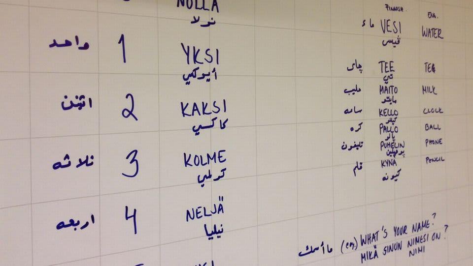 Sanoja taululla eri kielillä.