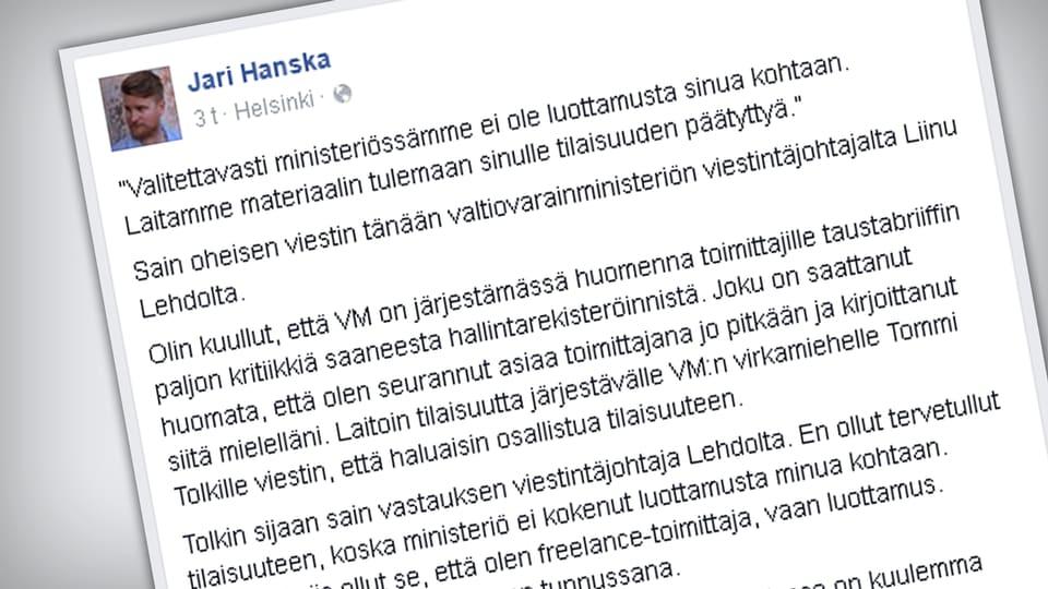 Kuvakaappaus Jari Hanskan Facebook-sivulta.