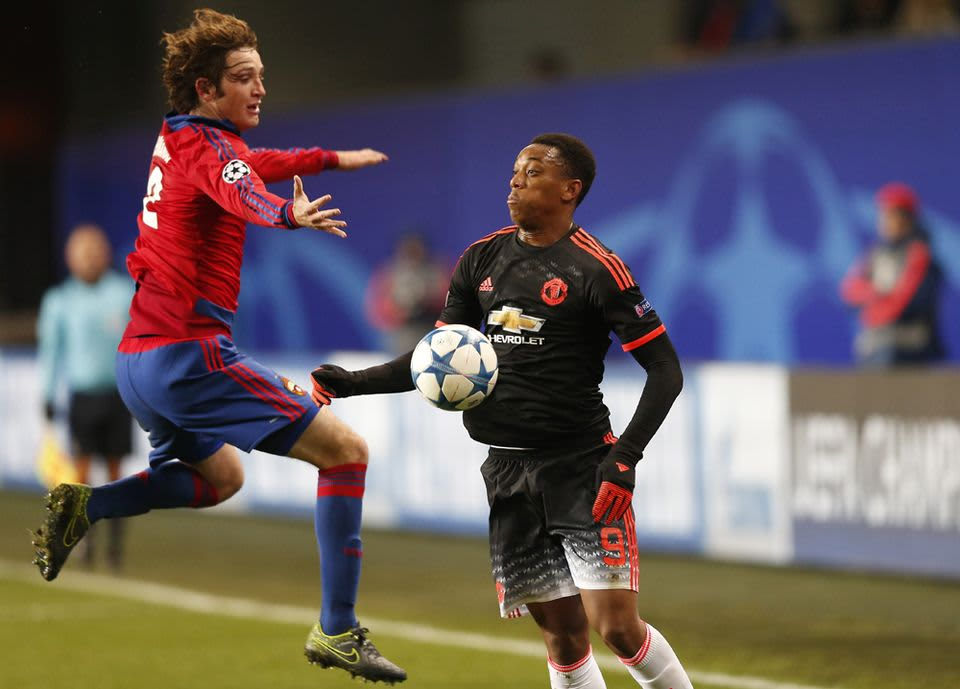 Anthony Martial (RMario Fernandes (L)  CSKA Moscow dManchester United and CSKA Moscow at Khimki Arena in Khimki