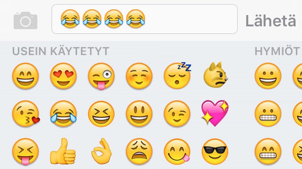 Emoji, iloinen itkevä naama.