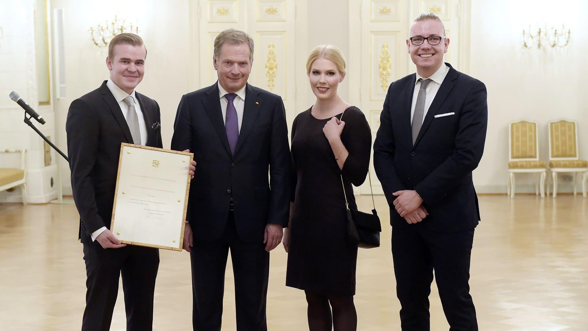 Slush sai tasavallan presidentti Sauli Niinistön jakaman kansainvälistymispalkinnon Helsingissä.