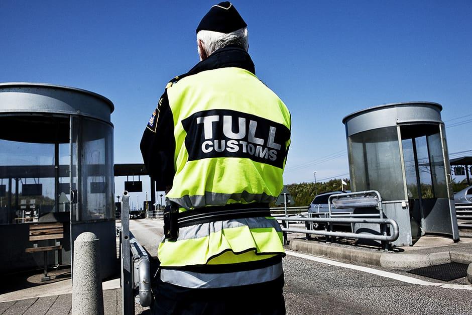 Tanskan ja Ruotsin välinen raja-asema Juutinrauman sillalla.