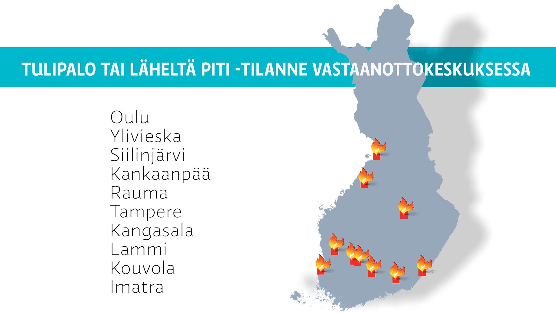 Paikkakunnat, joiden vastaanottokeskuksissa on ollut tulipalo tai läheltä piti -tilanne