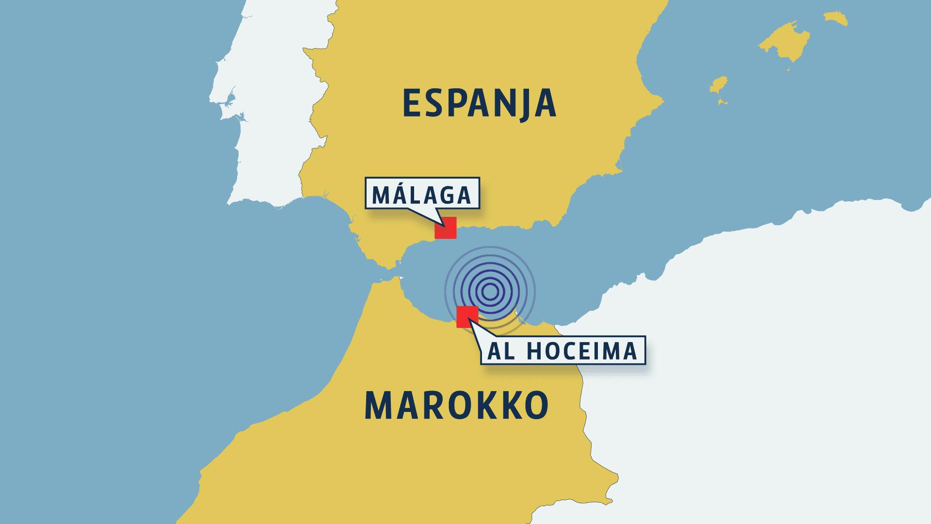 Espanjan ja Marokon kartta