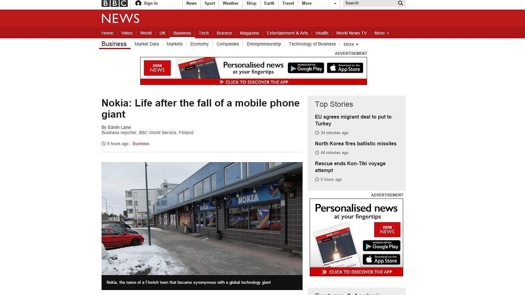 Kuvakaappaus BBC:n nettisivusta.