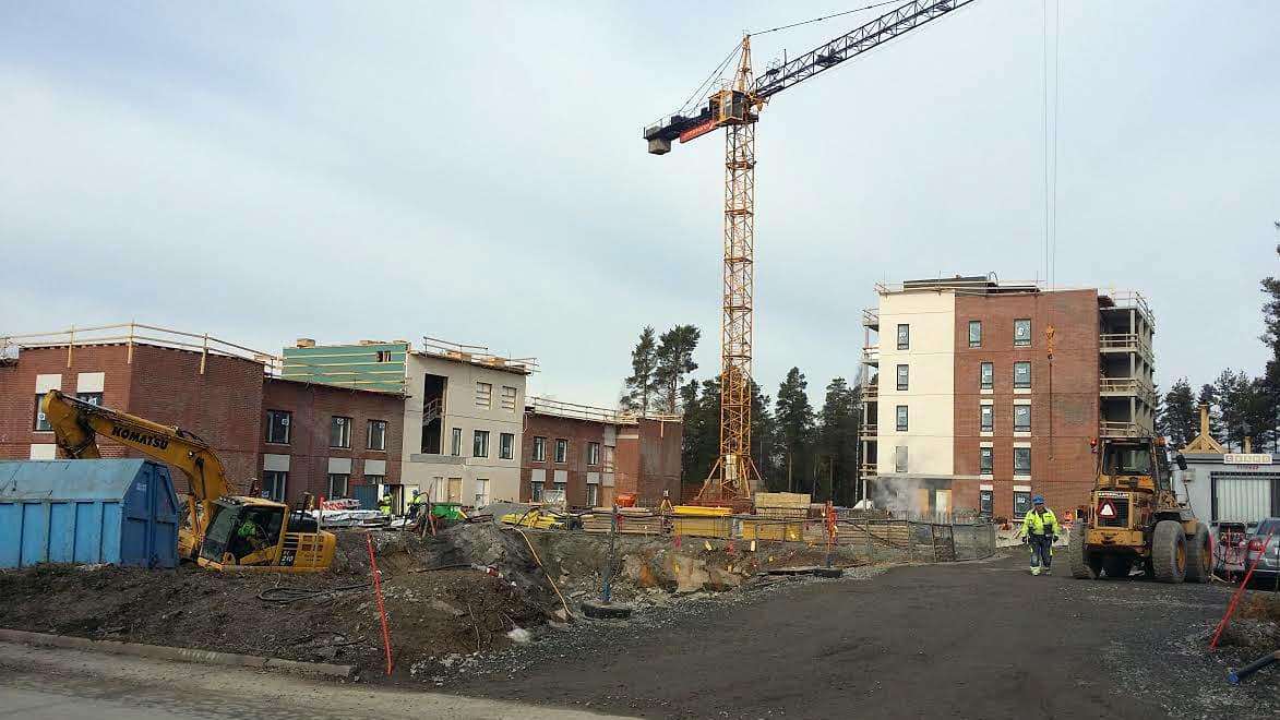 Kuvassa rakennustyömaa Kokkolassa.