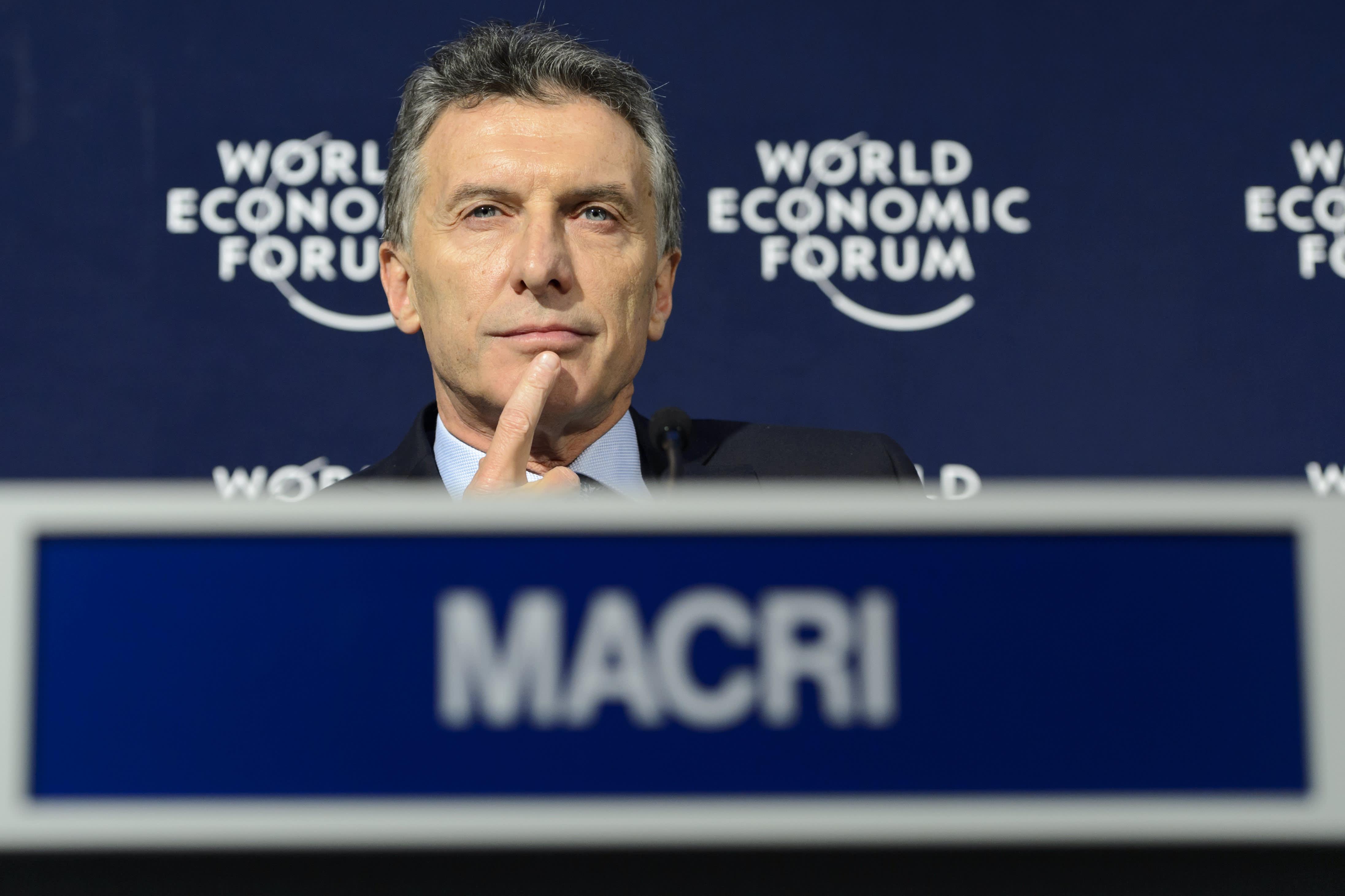 Argentiinan presidentti Mauricio Macri Maailman talousfoorumin kokouksessa Sveitsissä tammikuussa.