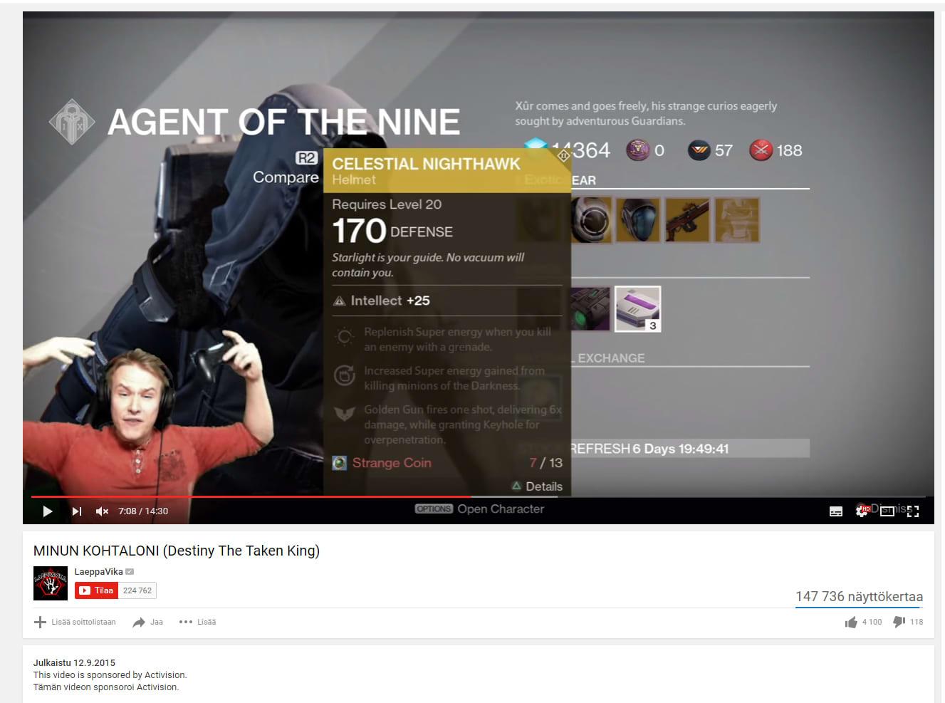 """Kuvankaappaus Laeppavika -vloggaajan videosta """"Minun kohtaloni (Destiny The Taken King)."""