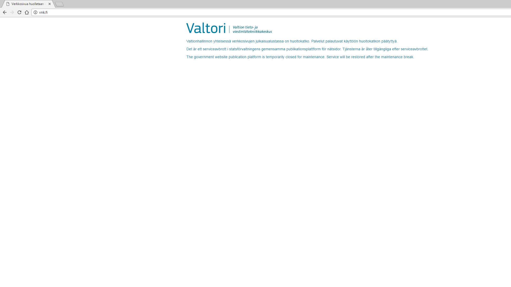 Ilmoitus huoltokatkosta vnk.fi-sivustolla 4. marraskuuta.