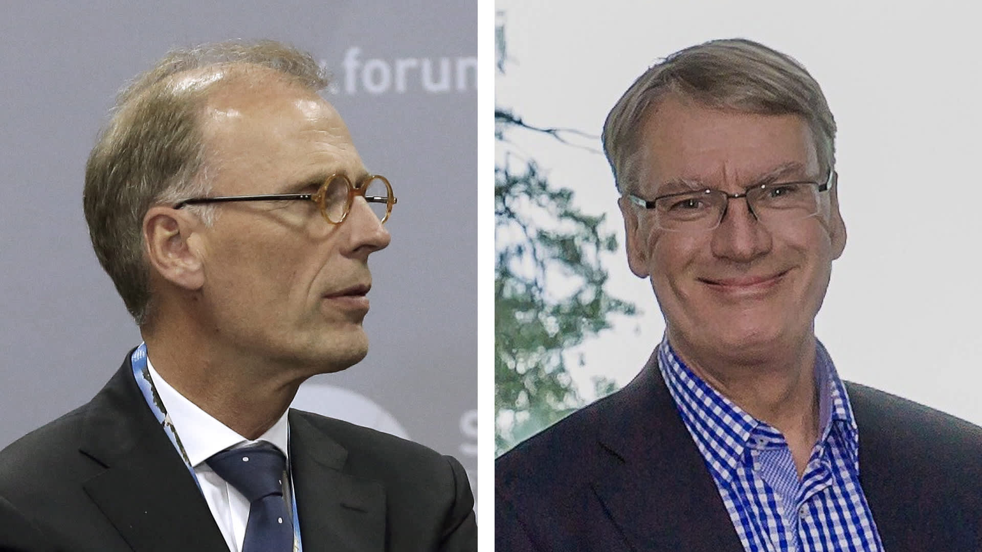 Carlsbergin toimitusjohtaja Cees't Hart ja Olvin toimitusjohtaja Lasse Aho.