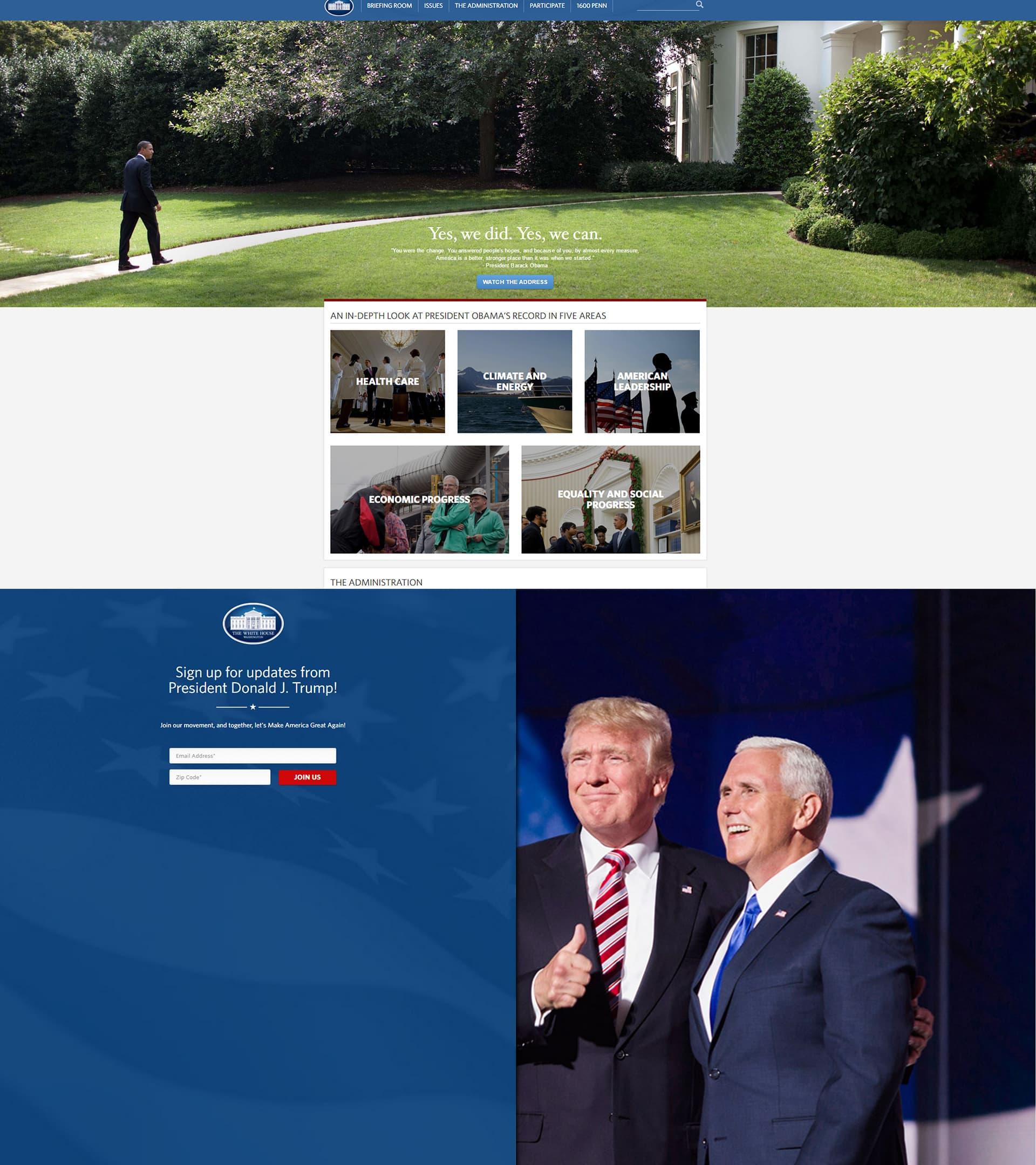Kaksi kuvakaappausta Valkoisen talon nettisivuilta; ylhäällä ennen Donald Trumpin virkavalaa ja alhaalla virkavalan vannomisen jälkeen.